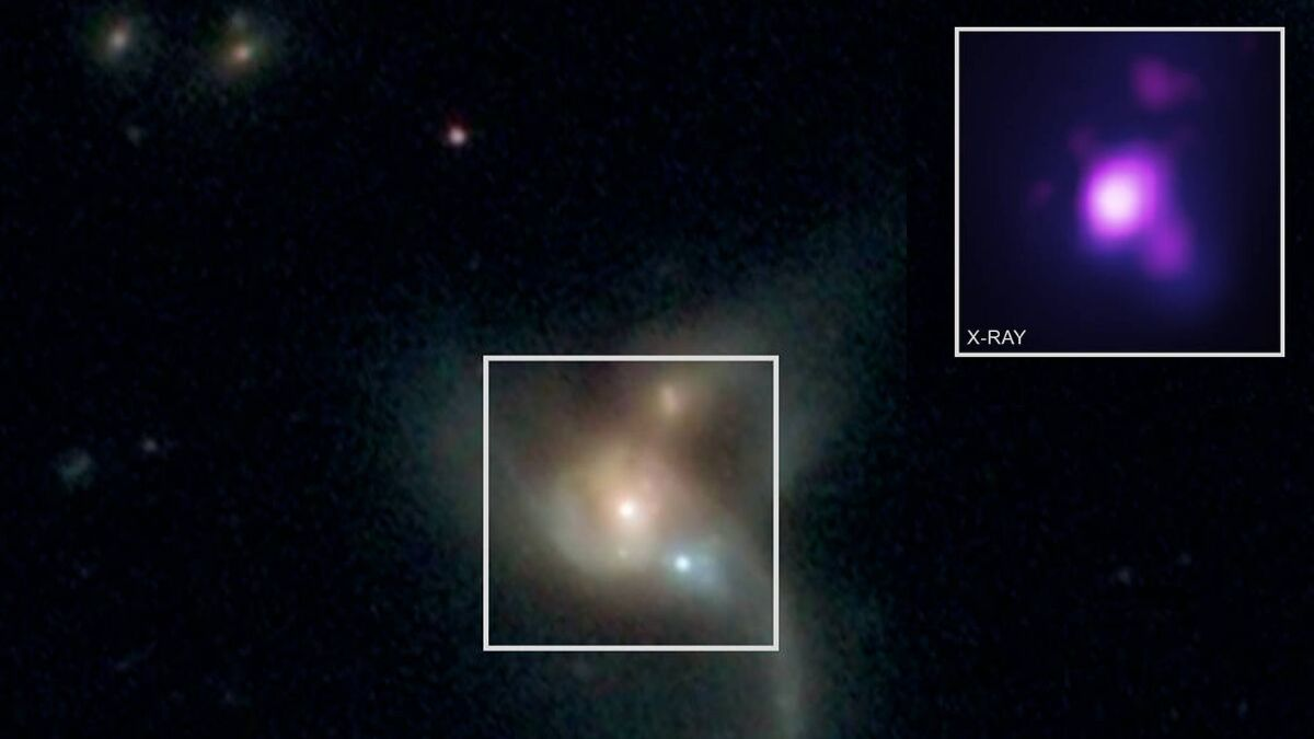 Three Supermassive Black Holes Orbiting Each Other